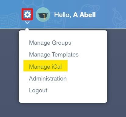 Select manage iCal screenshot