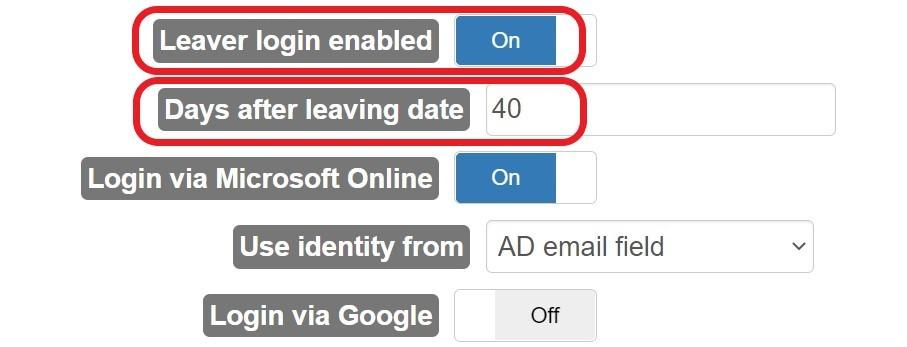 Edulink One - Leaver login access settings