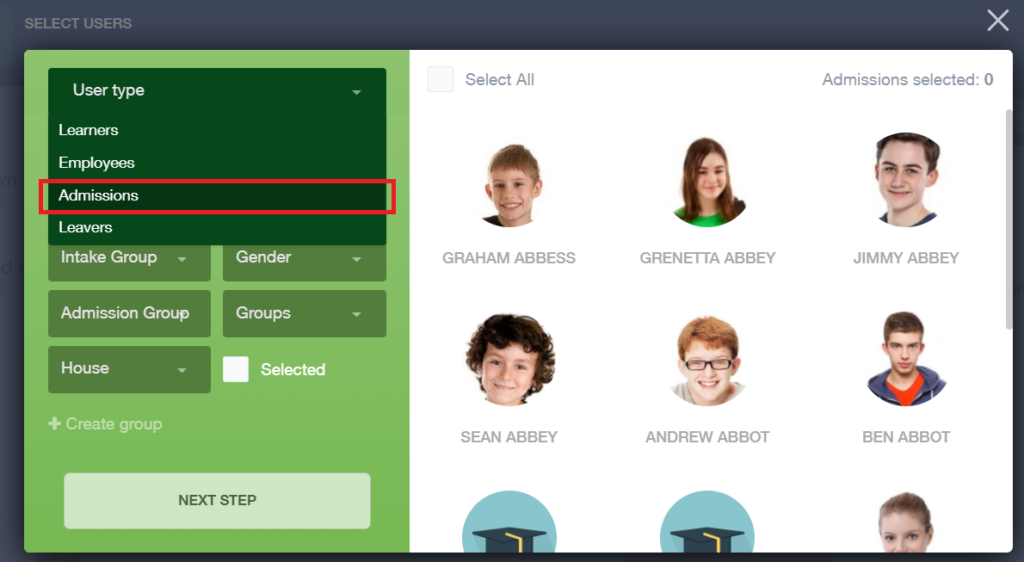 Edulink One Messaging - select users screen